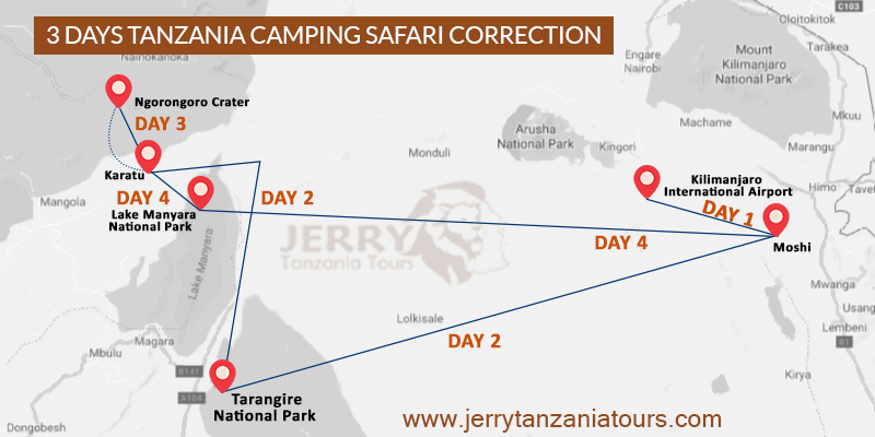 3 Days Tanzania Camping Safari Map