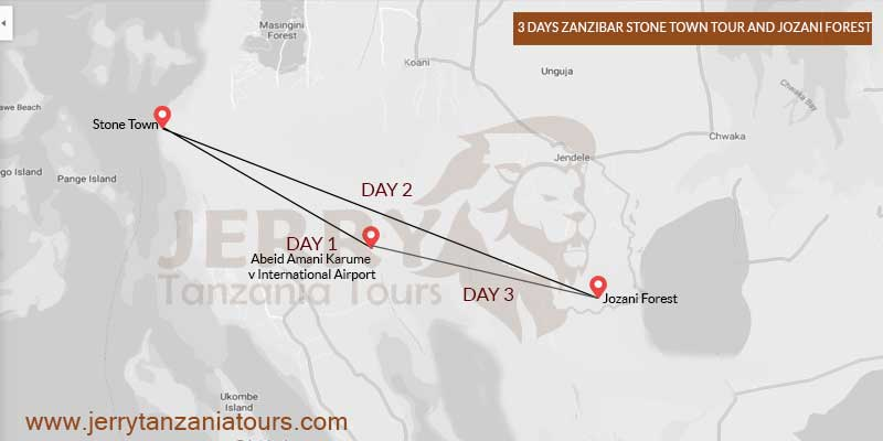 3 Days Zanzibar Stone Town Tour And Jozani Forest Map
