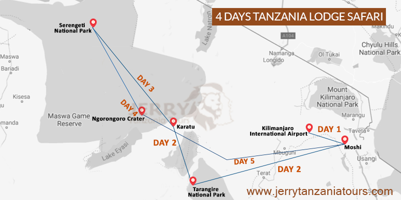 4 Days Tanzania Lodge Safari Map