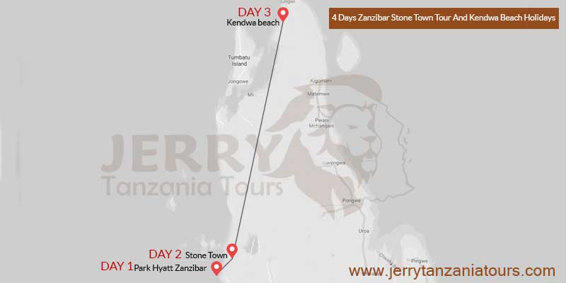 4 Days Zanzibar Stone Town Tour And Kendwa Beach Holidays Map