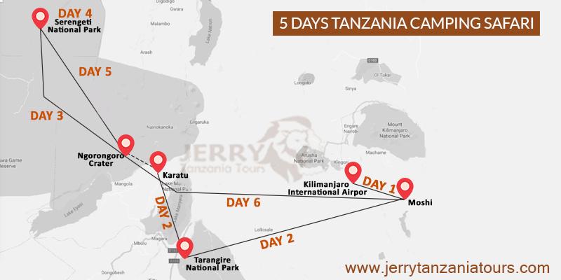 5 Days Tanzania Camping Safari Map