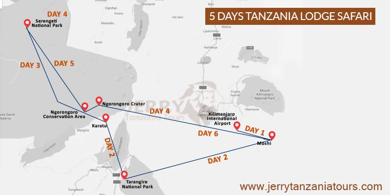 5 Days Tanzania Lodge Safari Map
