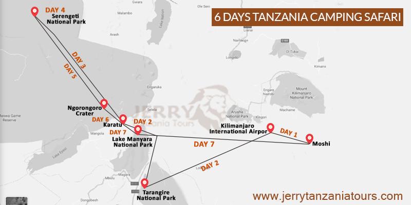 6 Days Tanzania Camping Safari Map