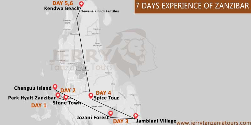 7 Days Experience Of Zanzibar Map