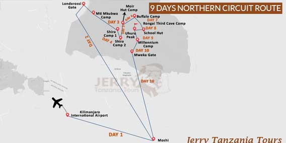 9 Days Northern Circuit Route Map
