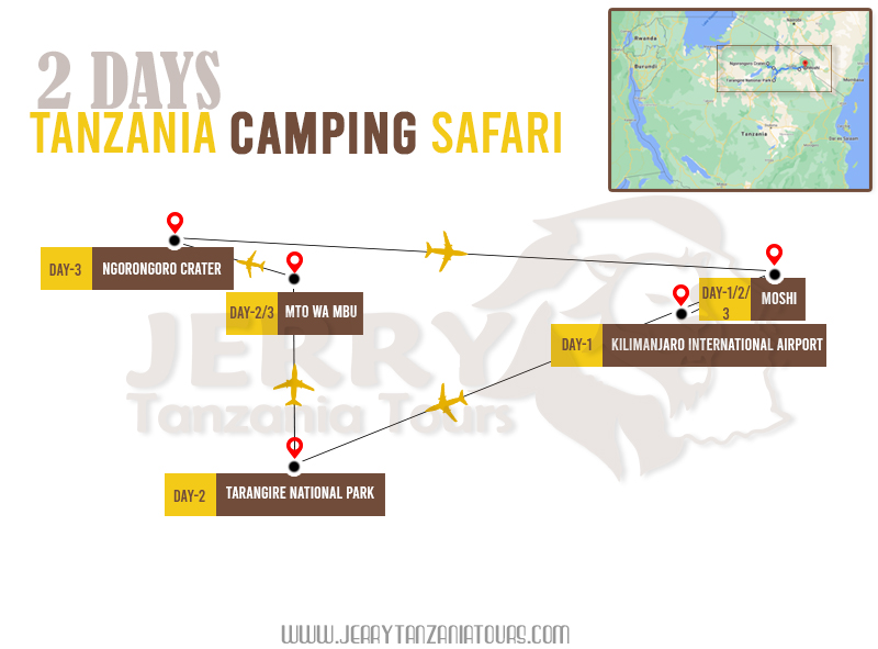 2 Days Tanzania Camping Safari Map