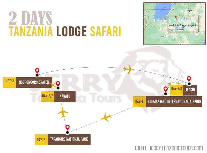 2 Days Tanzania lodge Safari Map