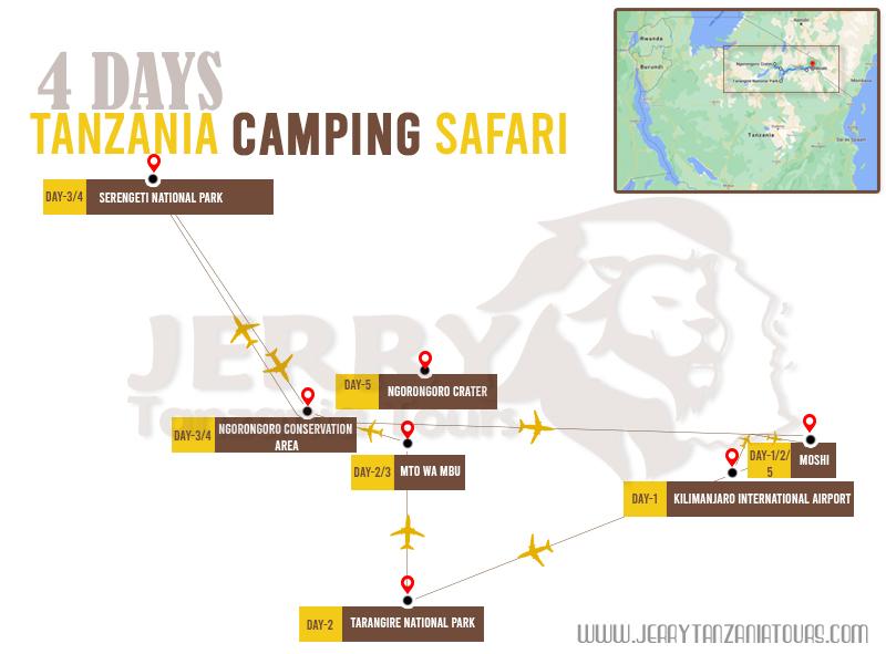4 Days Tanzania Camping Safari Map