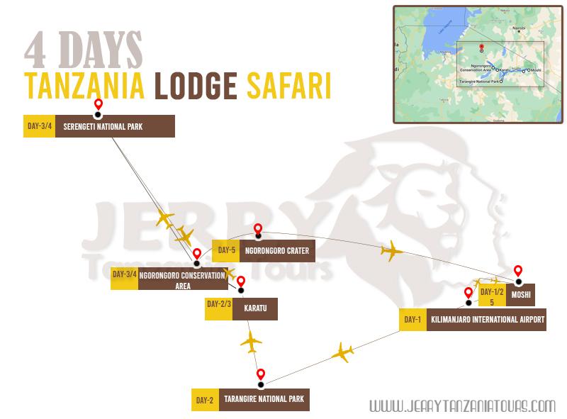 4 Days Tanzania Lodge Safari Map