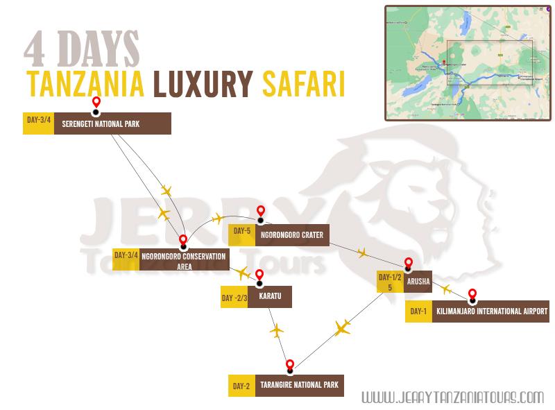 4 Days Tanzania Luxury Safari Map