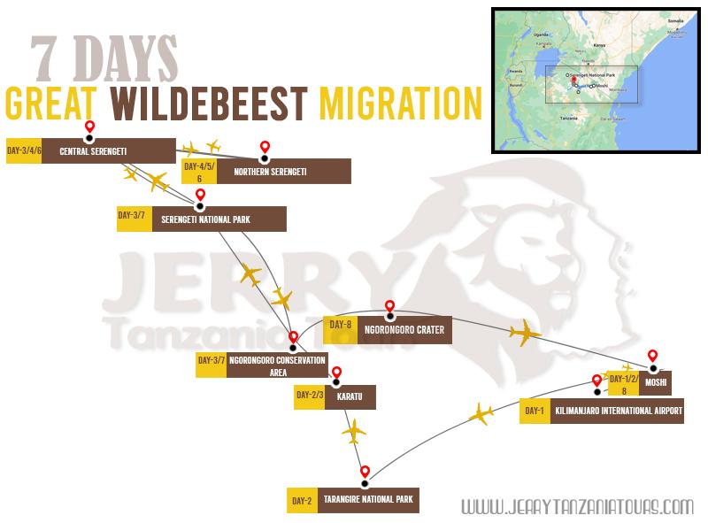 7 Days Great Wildebeest Migration Map